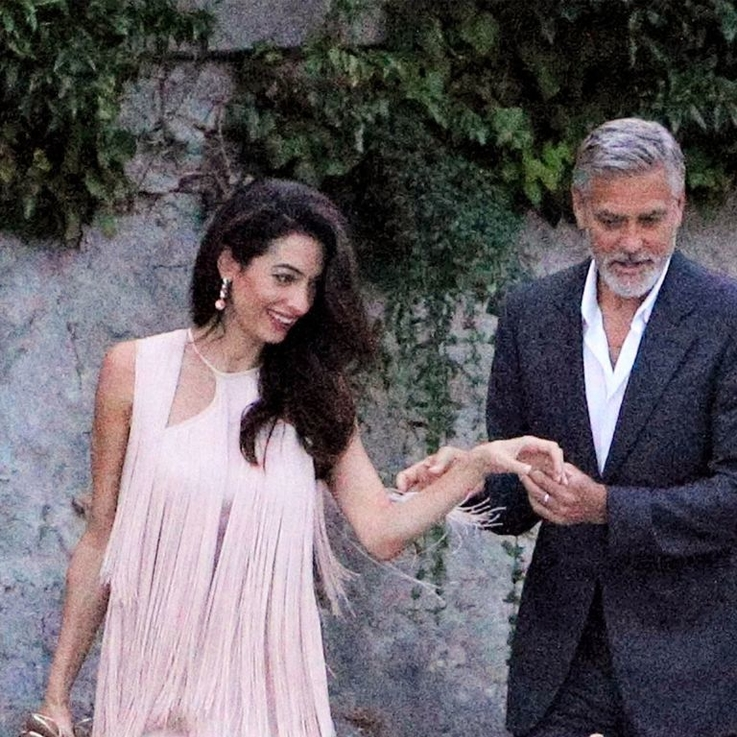 Amal Clooney's Pink Fringe Dress Is Summer Date Night In A Nutshell