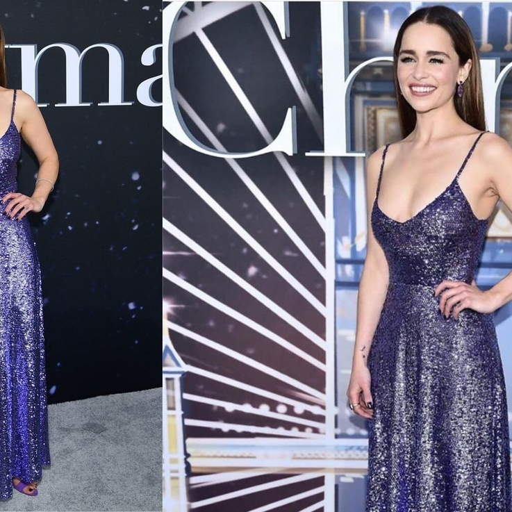 Emilia Clarke Glows In A Purple Valentino Gown At Last Christmas Premiere