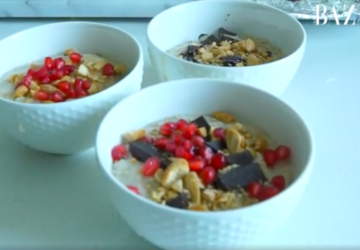 Learn How To Make This Deliciously-Vegan Creamy Tahini, Peanut And Fruit Oatmeal Recipe with Chef Dalia