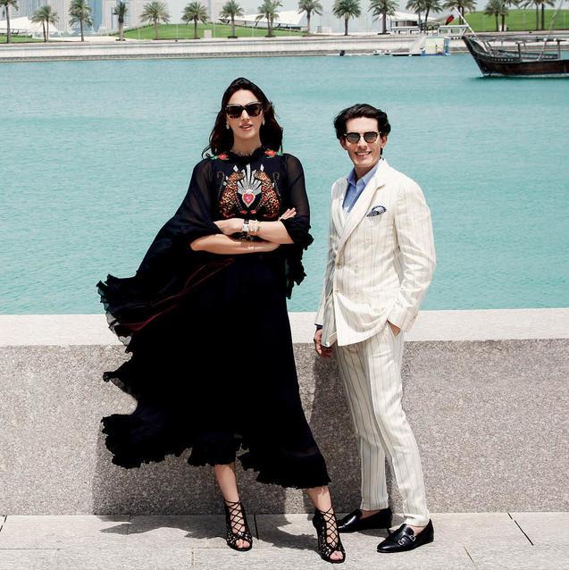 Walk With Me: Sheikha Raya Al-Khalifa And Aquazzura's Edgardo Osorio In Doha