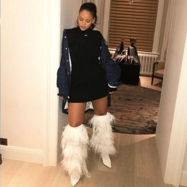 Rihanna Wore Saint Laurent's New Fur Boots Right Off The Runway