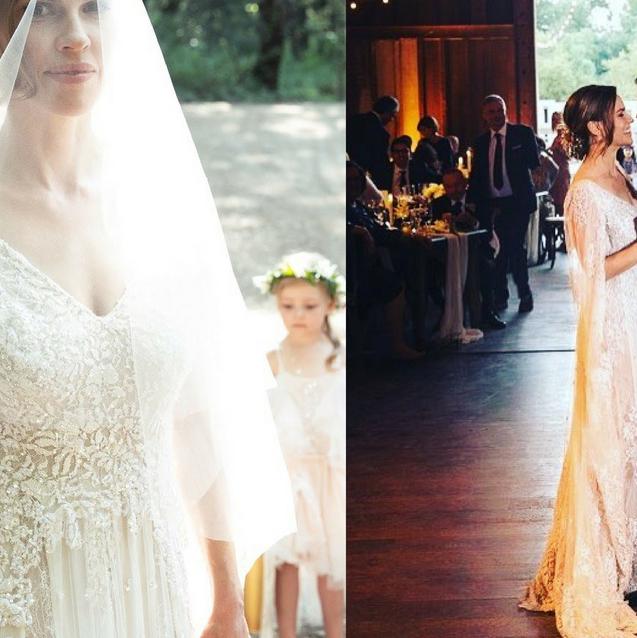 Hilary Swank Weds In Custom Elie Saab Couture