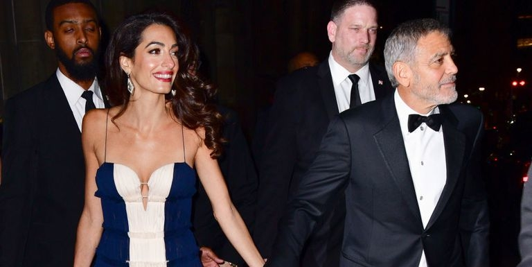 Amal Clooney Wore The Cutest Mini-Dress To Jennifer Aniston's 50th Birthday Party