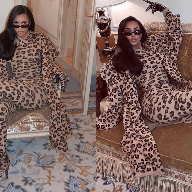 Kim Kardashian Pulls Off A Head-To-Toe Leopard Print Like Only Kim Kardashian Could Do