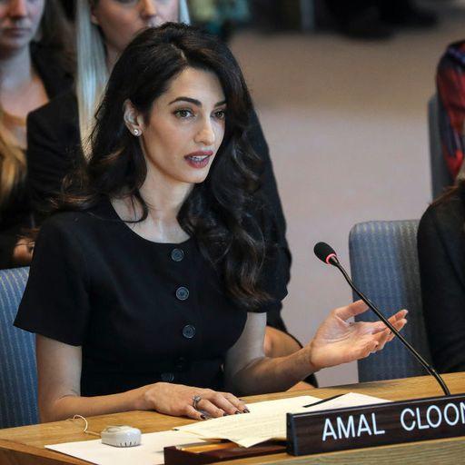 Amal Clooney Speaks at U.N. Security Council Meeting With Iraqi Activist Nadia Murad
