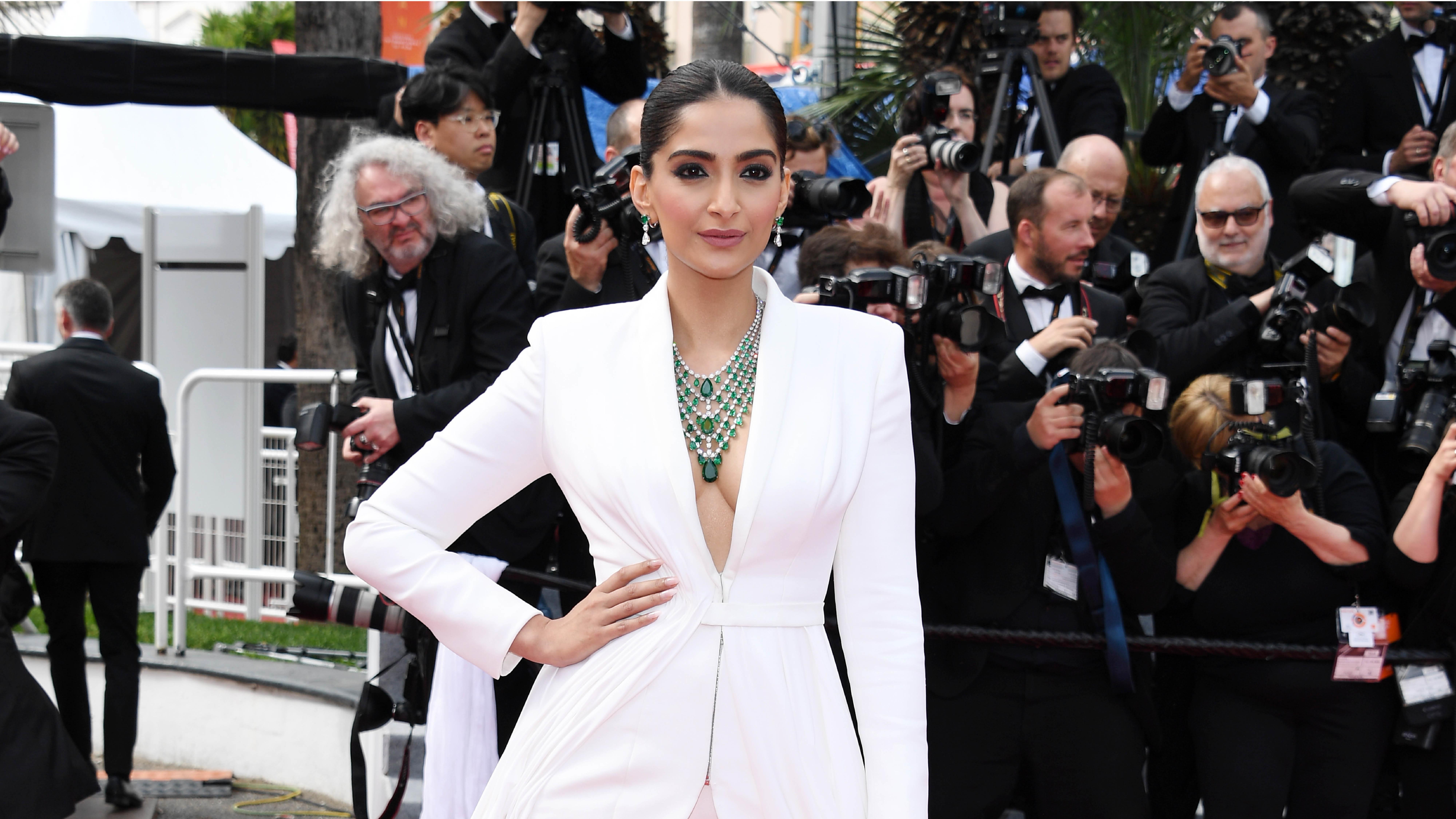 We're Still Swooning Over Sonam Kapoor's White Tuxedo Dress From Cannes