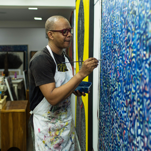 Nigeria's Preeminent Artist Victor Ehikhamenor Daydreams In His Adopted City Lagos