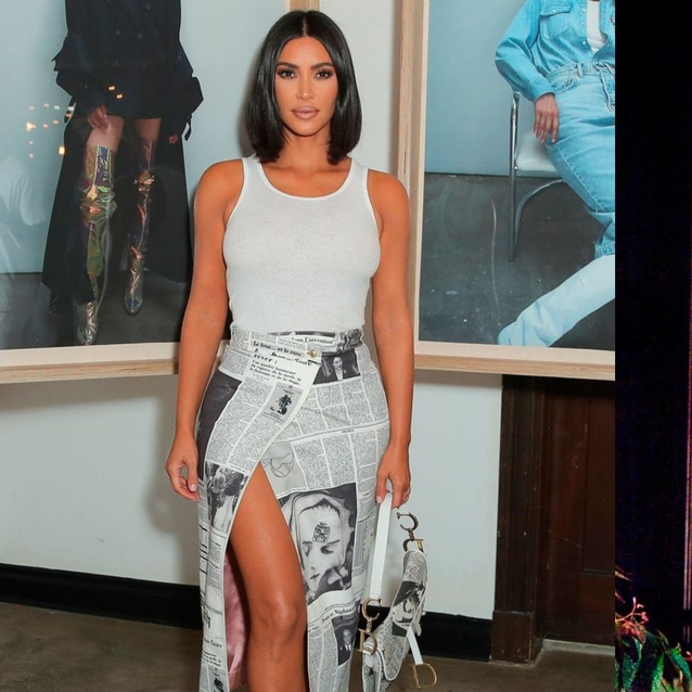 Kim Kardashian West Just Re-Created Carrie Bradshaw's Iconic Vintage Dior Newspaper Print