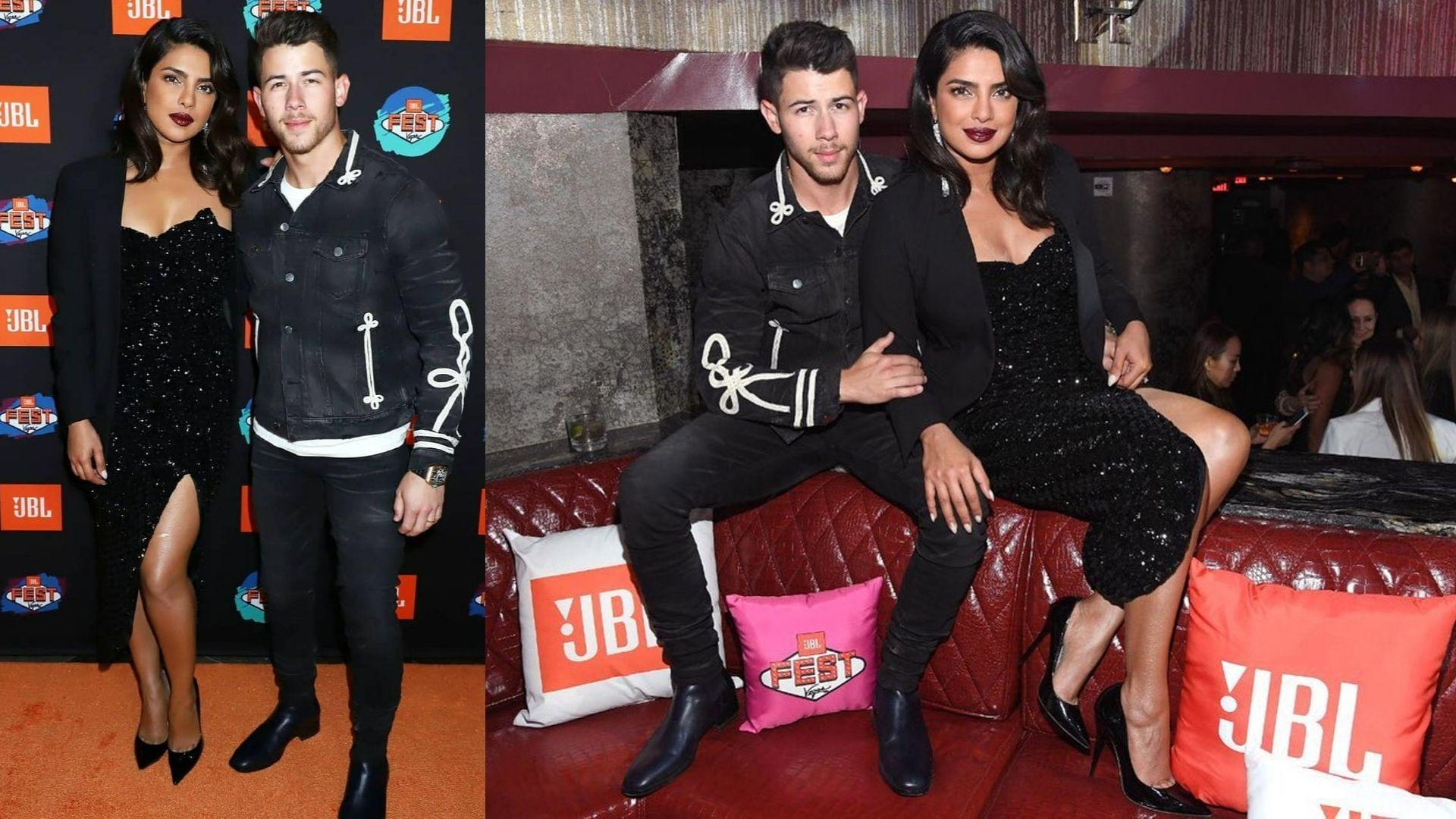 Priyanka Chopra And Nick Jonas Matched In Black For A Glitzy Las Vegas Date Night