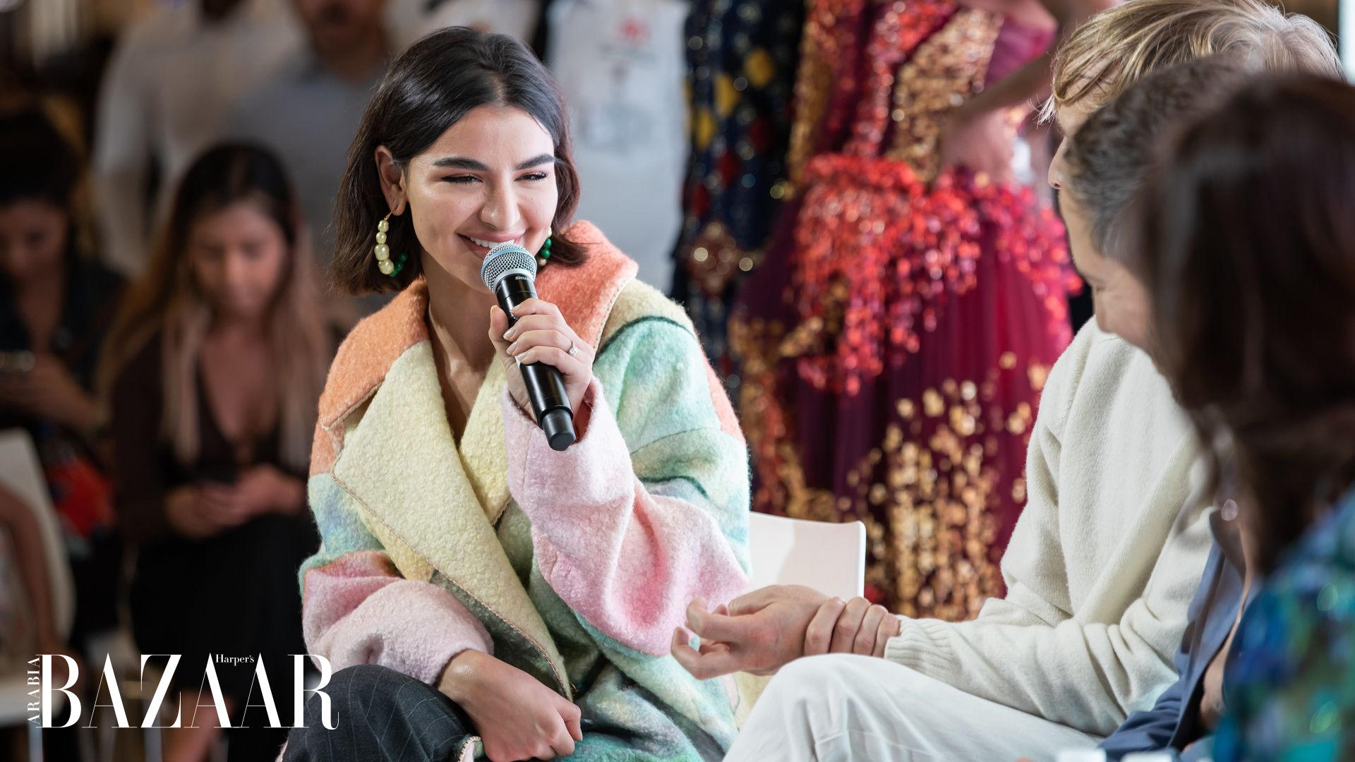 Rania Fawaz Wore This Stunning Coat By Peter Pilotto At The Bazaar Capsule