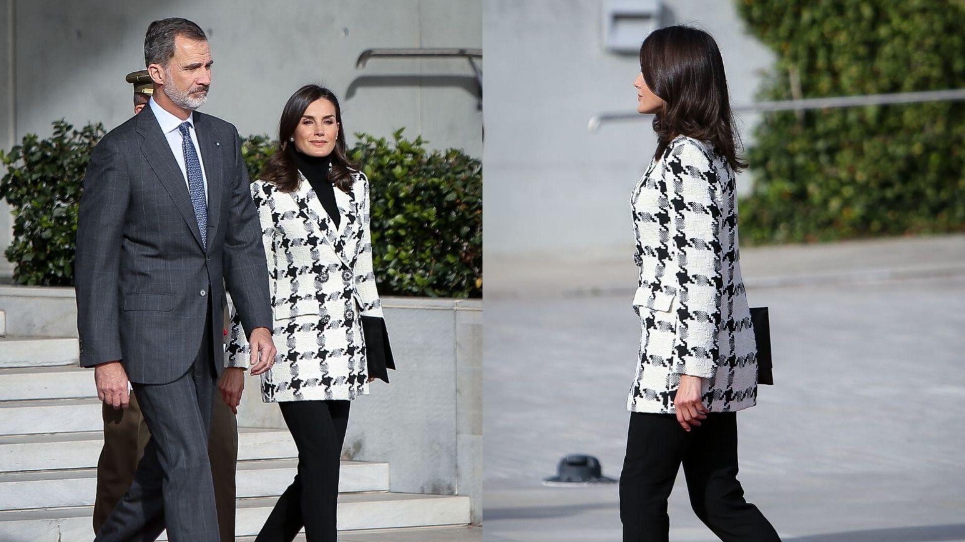 Queen Letizia Rings In The Winter Season With A Plaid Blazer
