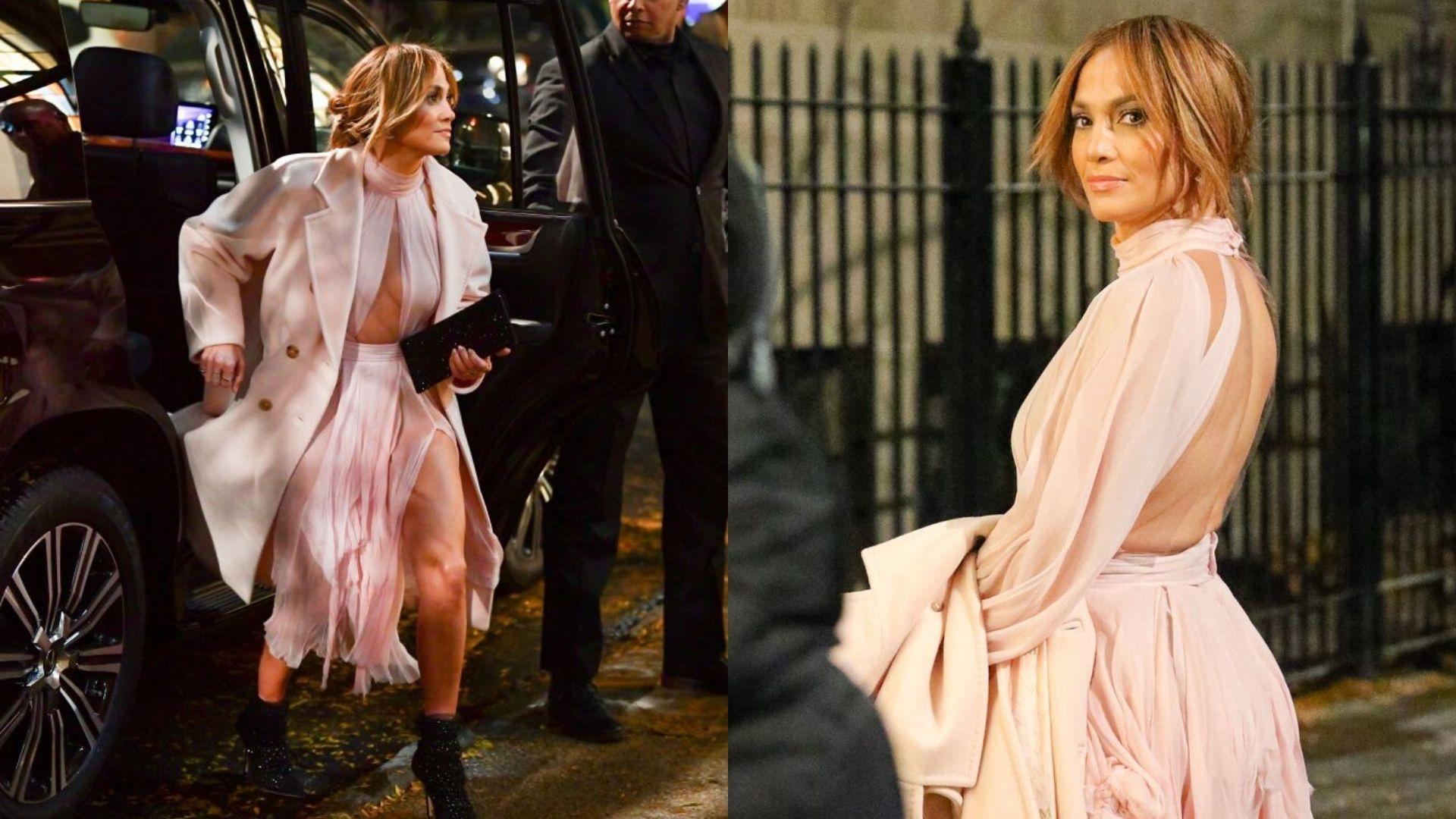 Jennifer Lopez's Blush Pink Cut-Out Dress Features A Thigh-High Leg Slit