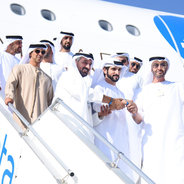 Sheikh Mohamed And Sheikh Hamdan Tour The Latest Emirates A380 At The Dubai Airshow