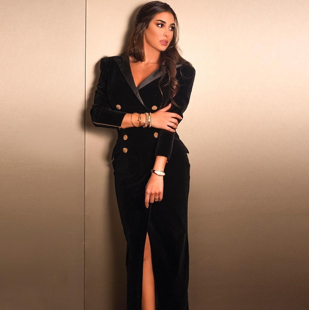 Yasmine Sabri Just Wore A Velvet Tuxedo Dress And Now We Need A Black Velvet Tuxedo Dress
