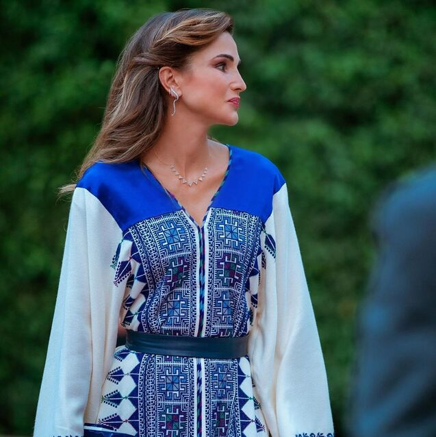 Queen Rania Was Impeccably-Dressed In Arab Designers at Jordan's Independence Day Festivities